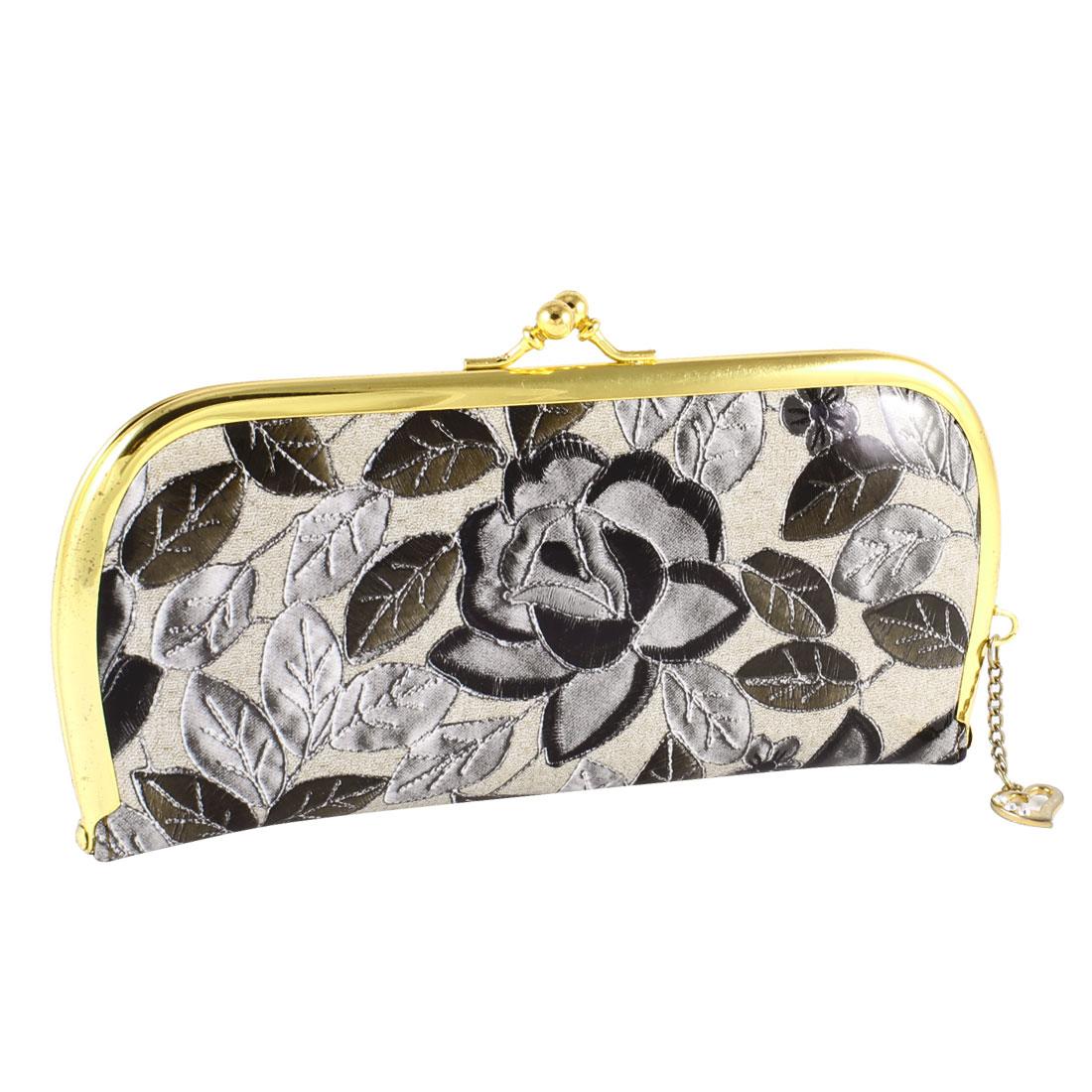 Ladies Black Flower Pattern Kisslock Clasp Faux Leather Purse Wallet Beige