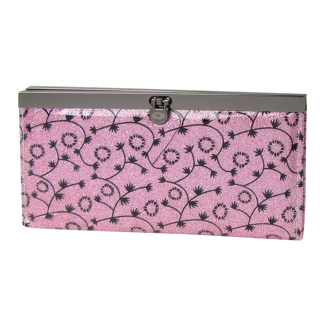 Woman Black Flower Pattern Flip Lock Powder Decor Wallet Purse Pink