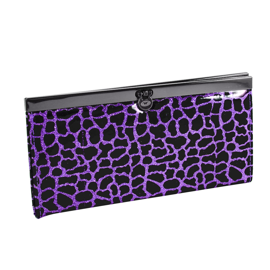 Women Black Crocodile Pattern Powder Decor Wallet Purple for Money