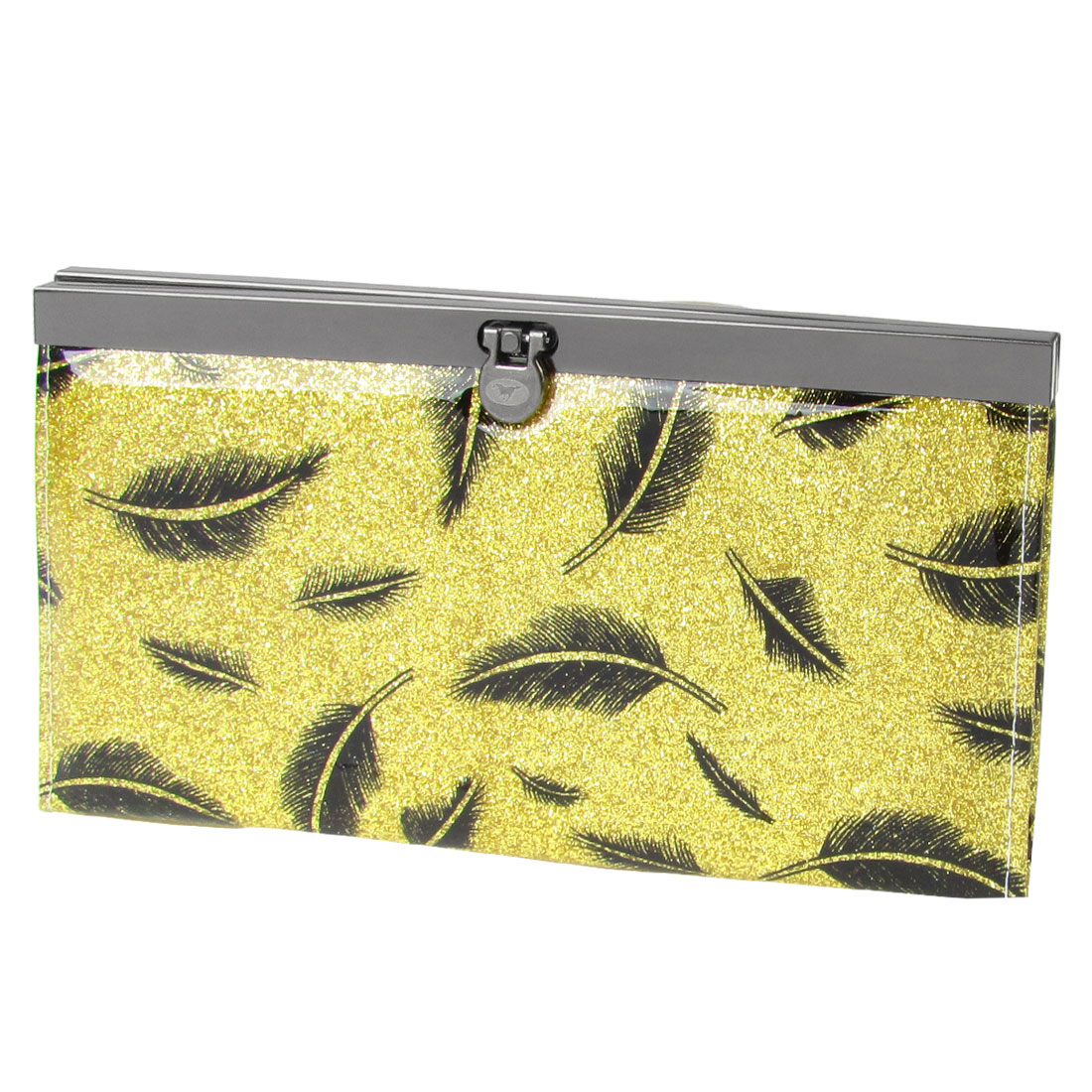 Women Black Feather Print Powder Inlaid Flip Lock Faux Leather Wallet Holder Yellow