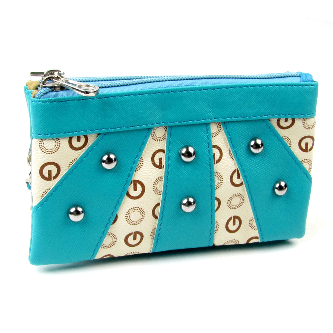 Stud Decor Faux Leather Double Zipper Closure Wallet Holder Blue Ivory for Woman