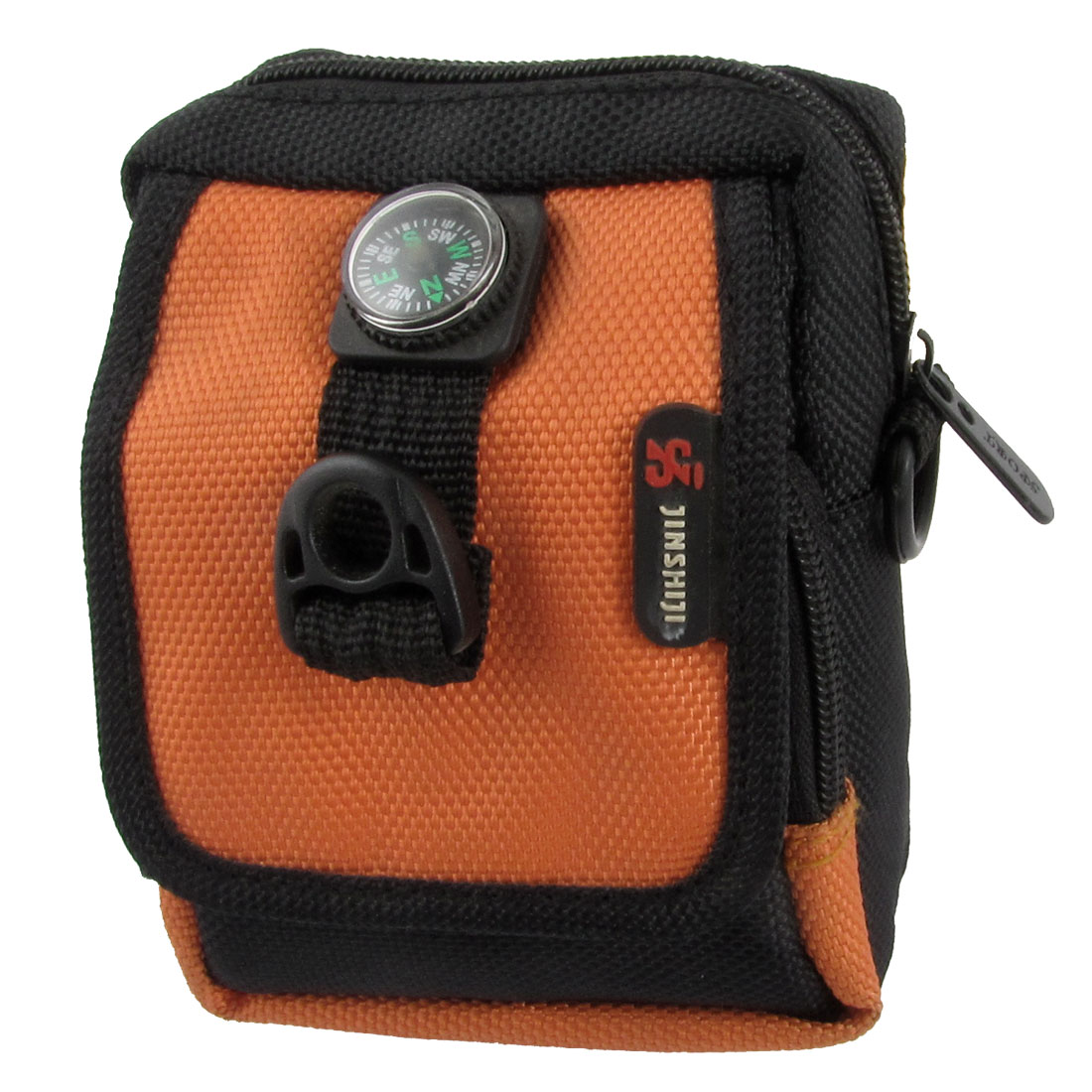 Man Black Orange Decor Faux Leather 3 Pockets Waist Bag w Compass