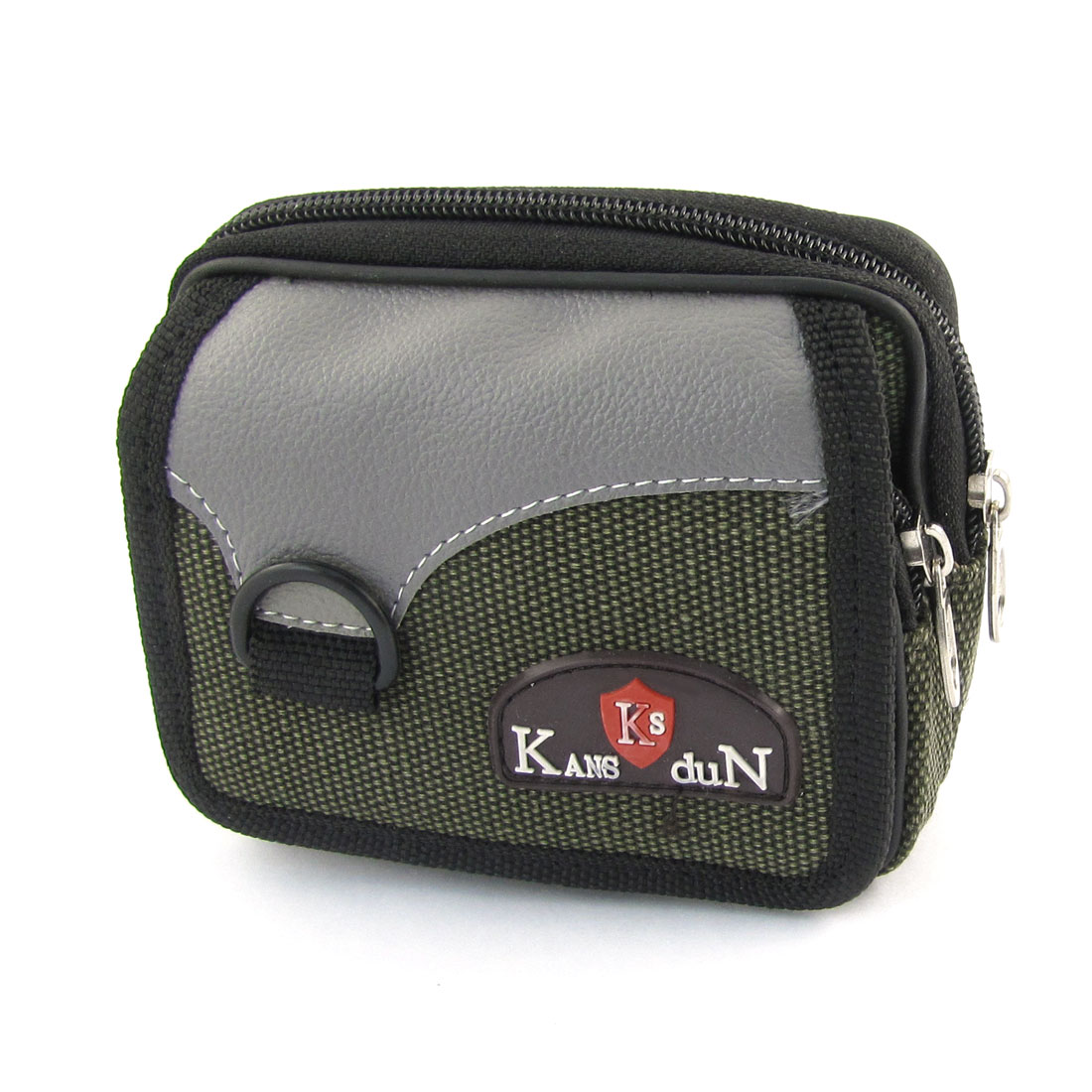 Green Gray 2 Zippered Compartment Camera Waist Bag Cell Phone Pouch