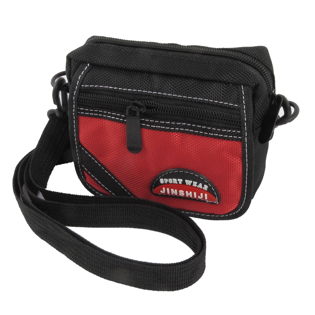 Man Black Red Nylon 3 Pockets Adjustable Strap Waist Bag