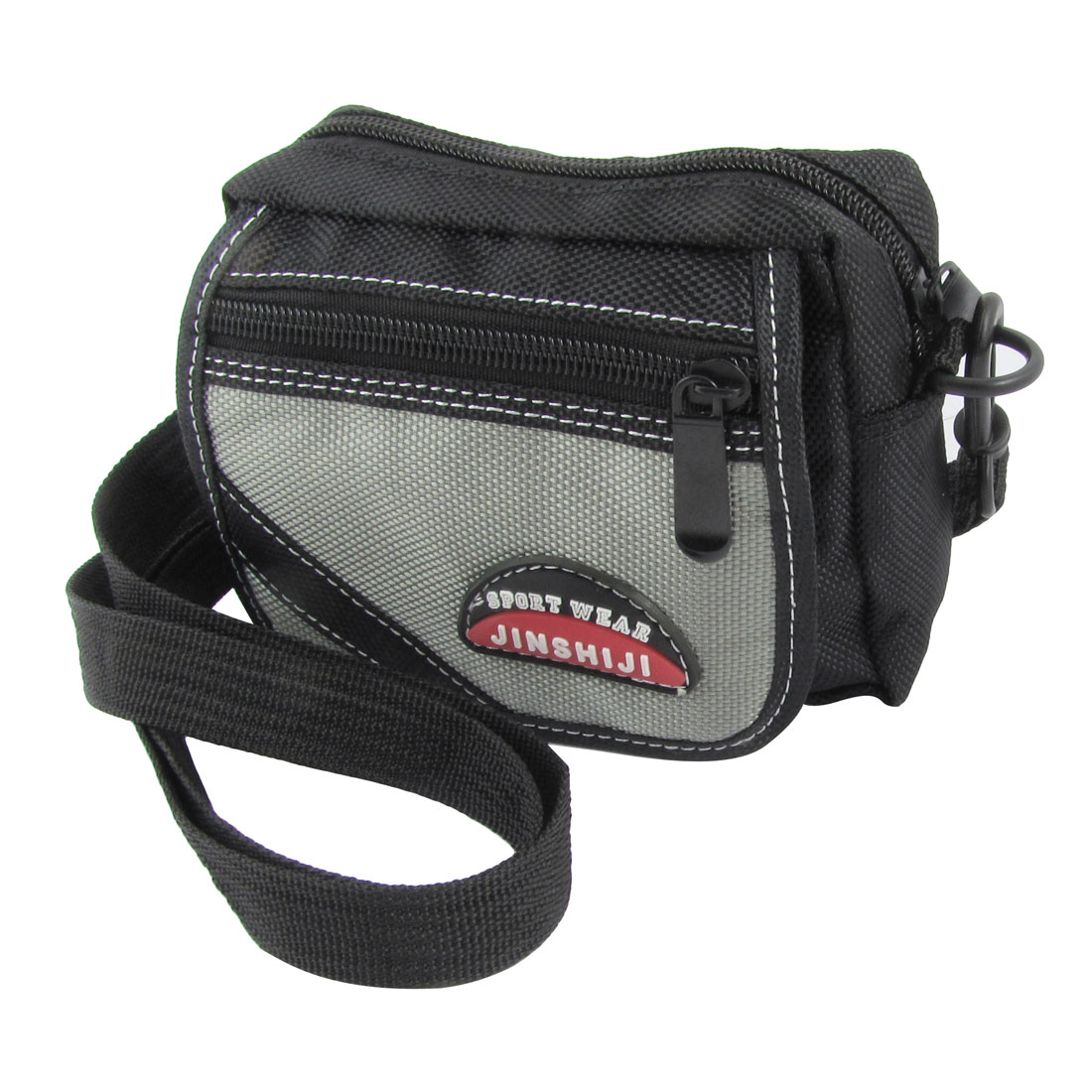 Man Black Gray Nylon 3 Pockets Adjustable Strap Waist Bag