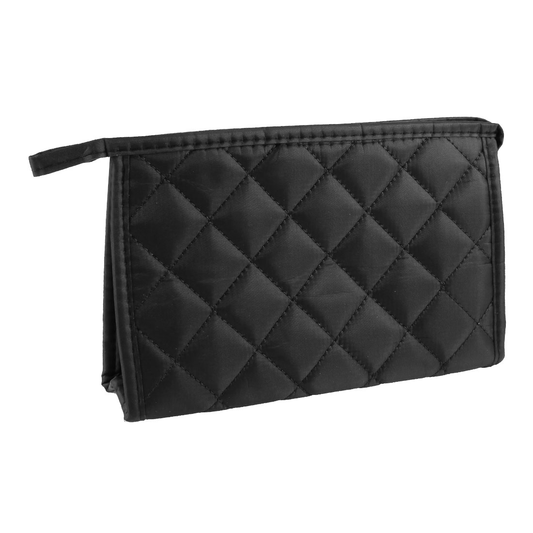 Black Rhombus Pattern Nylon Zipper Closure Cosmetic Pouch Bag for Ladies