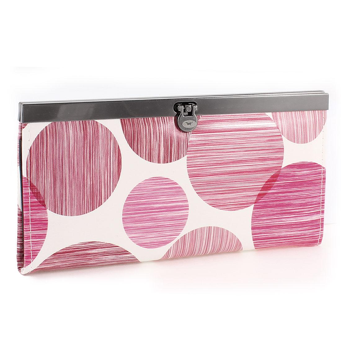 Women Pink Dot Strip Print Press Stud Closure Purse Wallet Holder