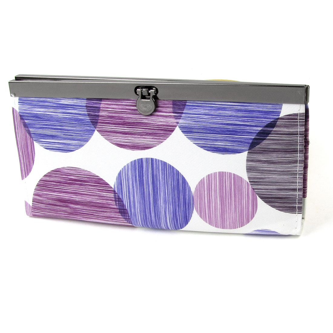 Ladies Faux Leather Purple Dot Stripe Print Flip Lock Closure Purse Wallet White