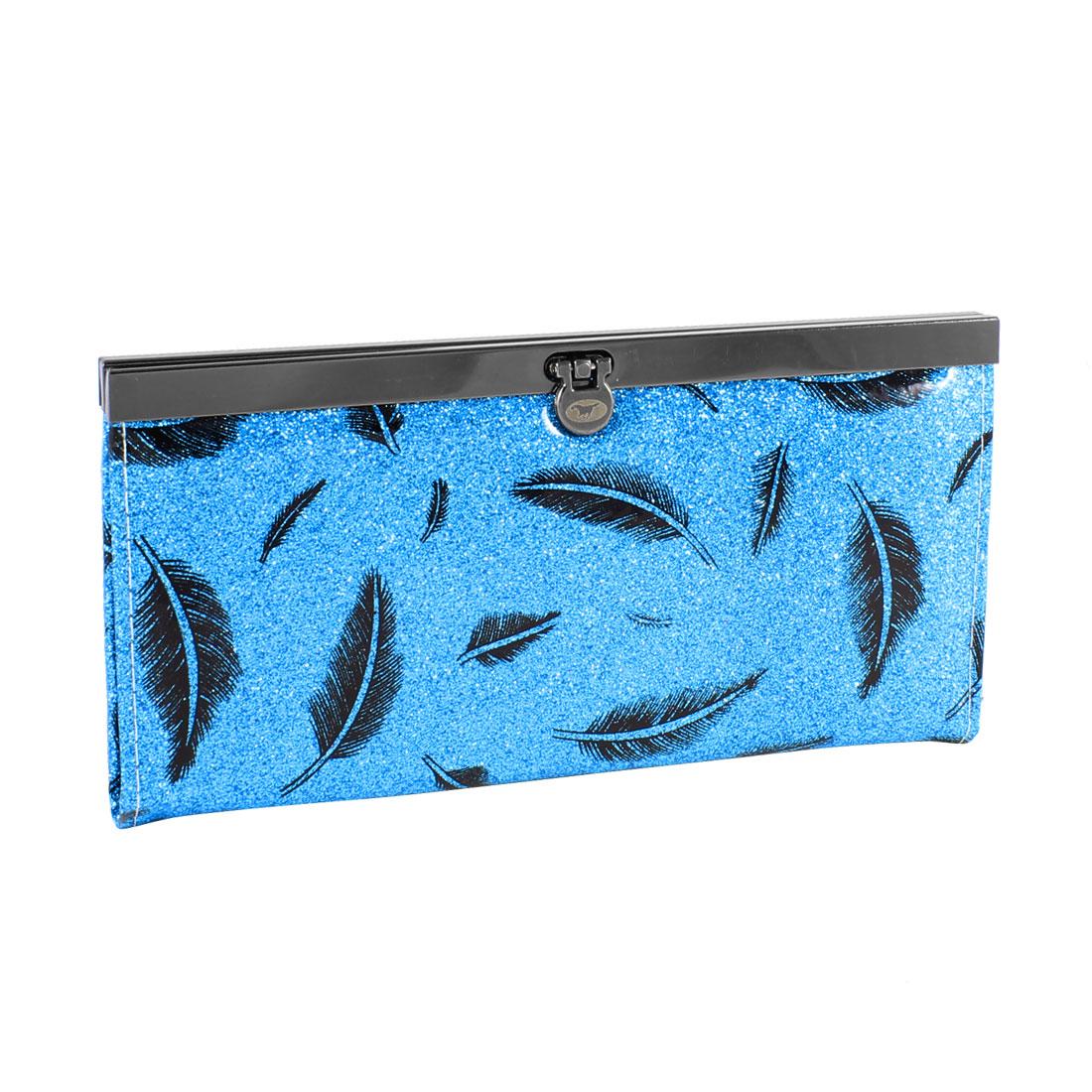 Women Black Feather Print Powder Decor Flip Lock Closure Wallet Holder Blue