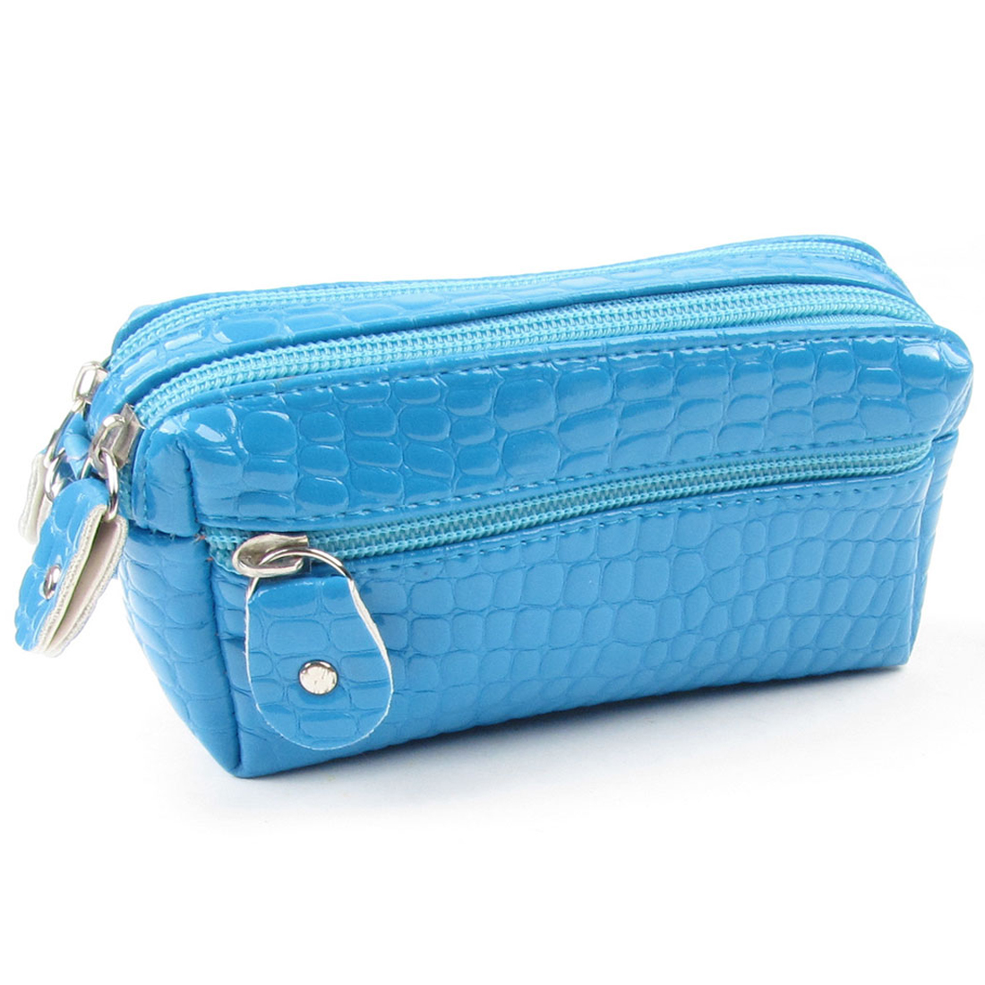 Woman Faux Leather Crocodile Pattern Zip up Wallet Blue for Coin ID Card