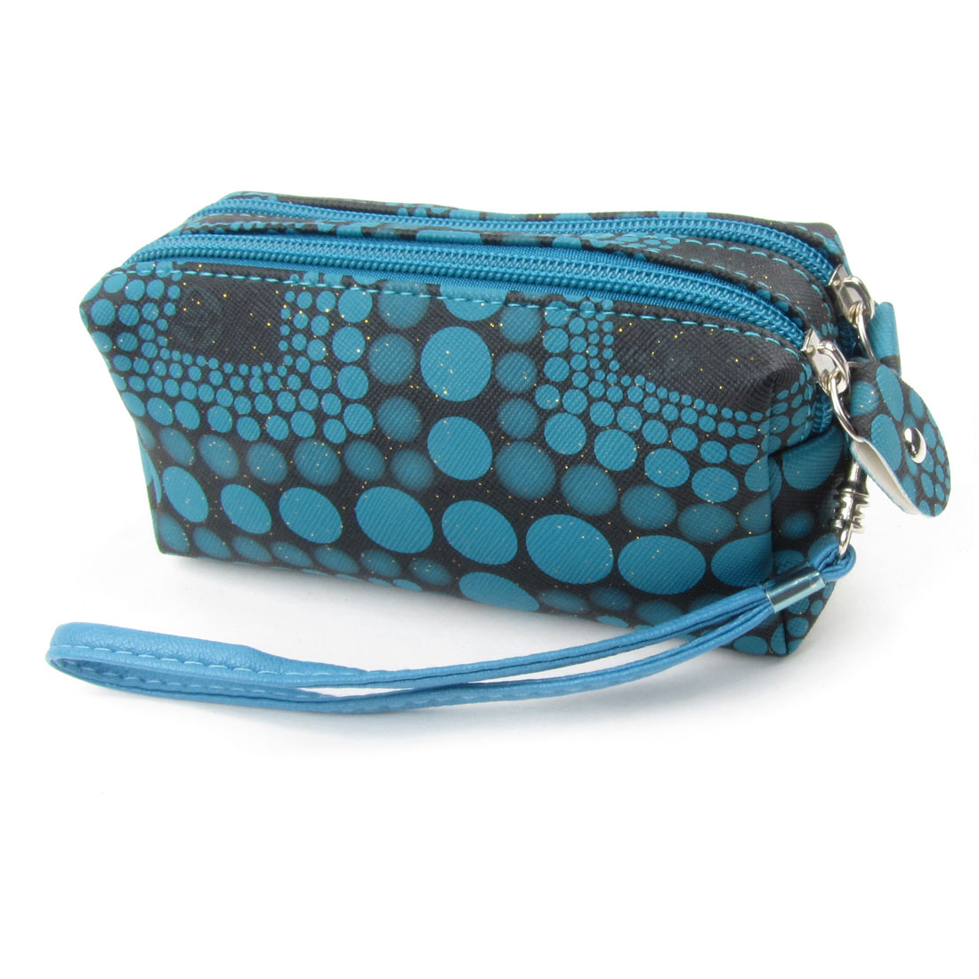 Women Blue Dot Print Powder Decor Zip up Closure Wallet Holder Black