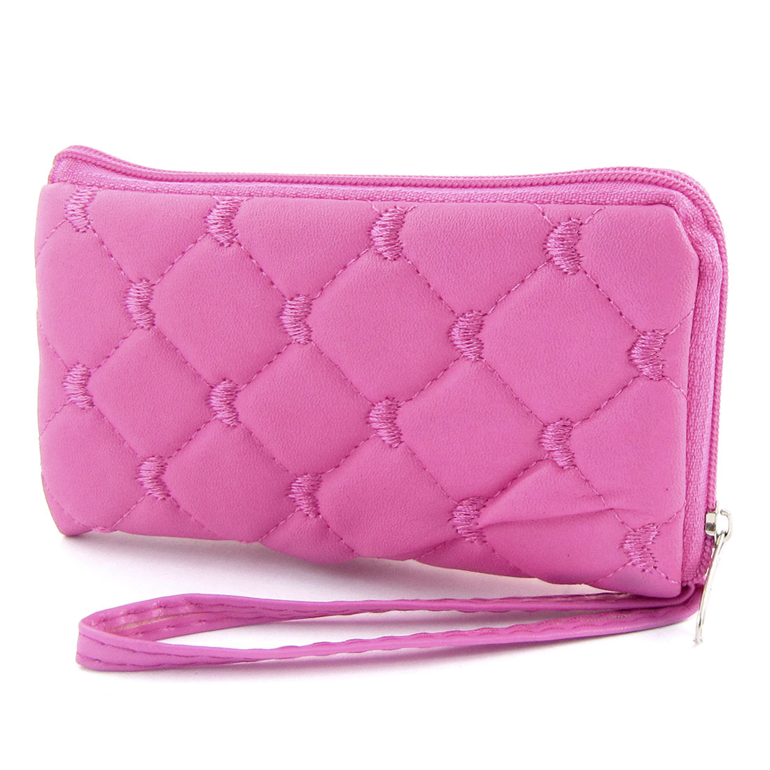 Pink Rhombus Faux Leather Zipper Cell Phone Cards Purse Pouch Coins Wallet
