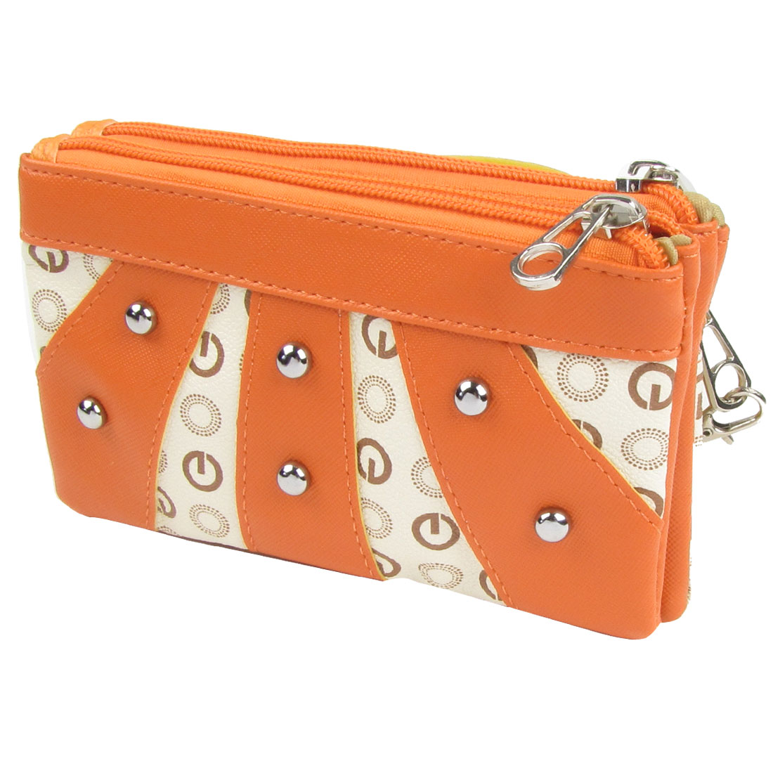 Women Stud Decor Faux Leather Zip up Wallet Orange Ivory for Coin ID Card