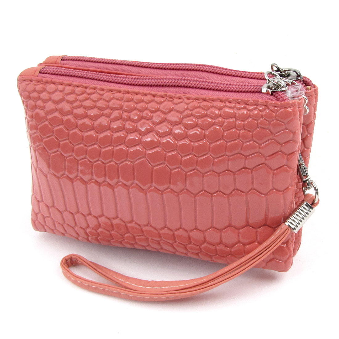 Woman Salmon Pink Crocodile Pattern Faux Leather Double Zipper Closure Purse Wallet
