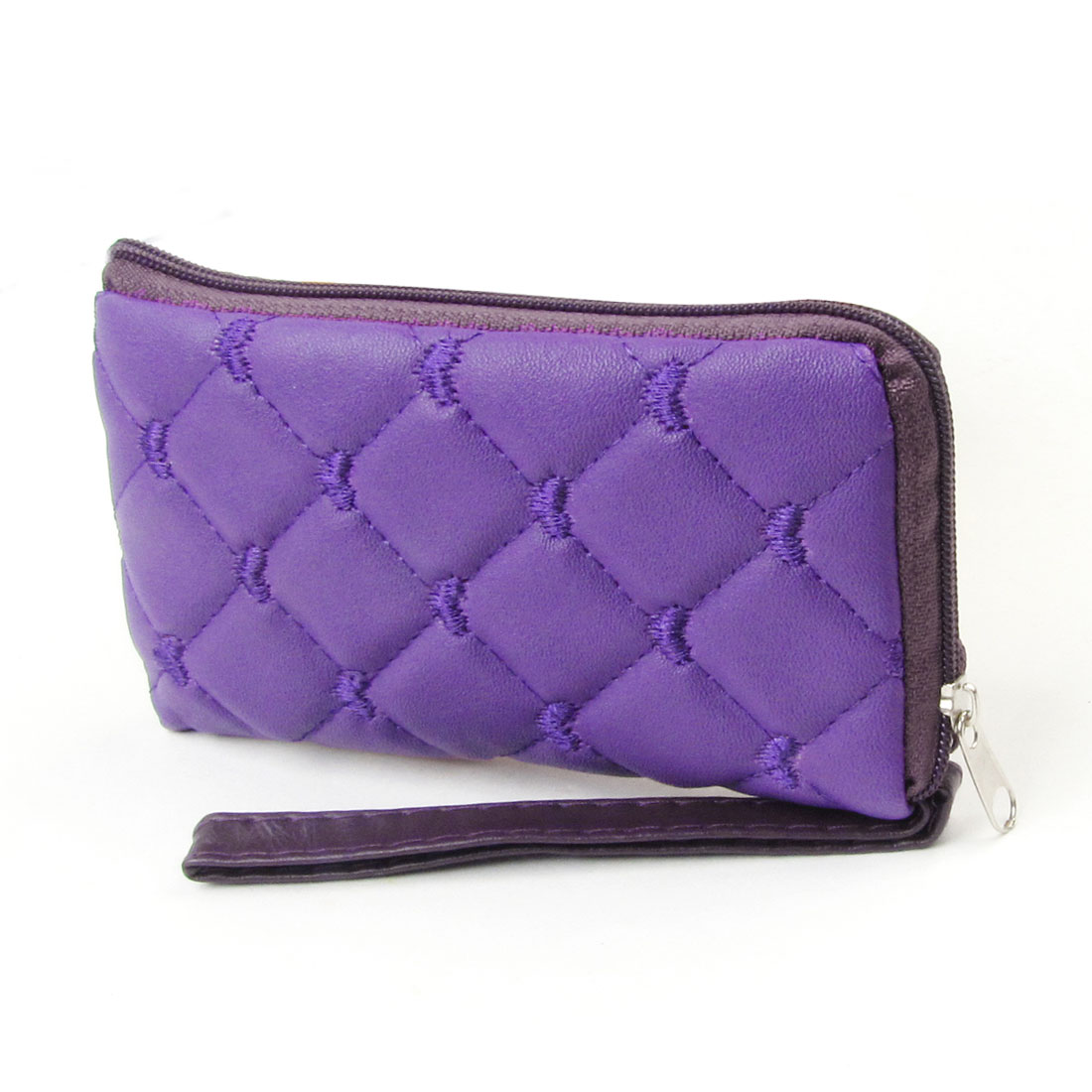 Purple Rhombus Faux Leather Zipper Cell Phone Cards Purse Pouch Coins Wallet