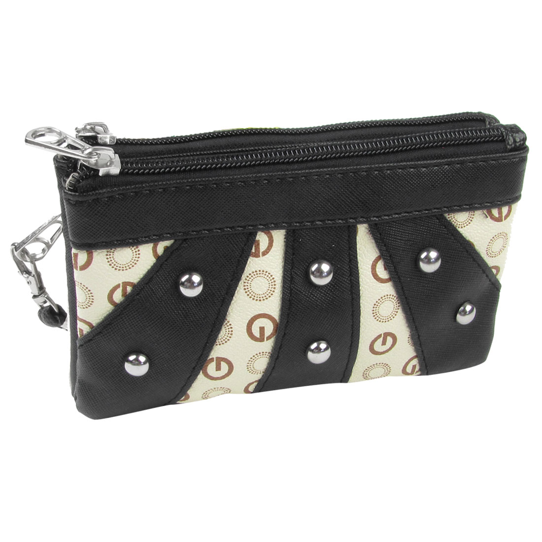 Woman Stud Decor Faux Leather Zipper Closure Wallet Purse Holder Black Ivory