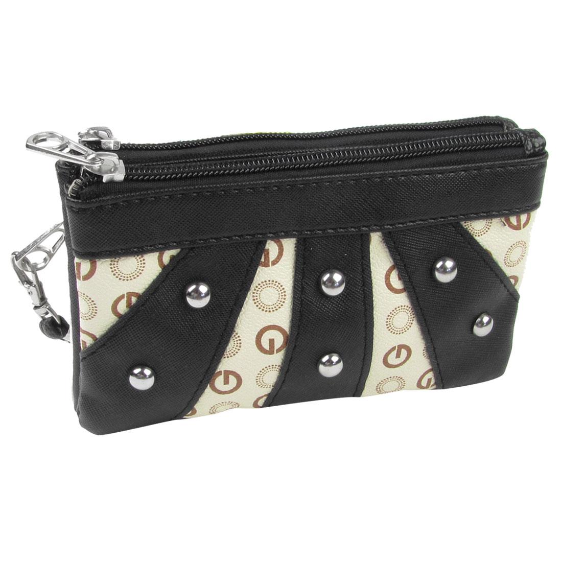 Woman Stud Decor Faux Leather Zipper Closure Wallet Purse Holder Black Ivory