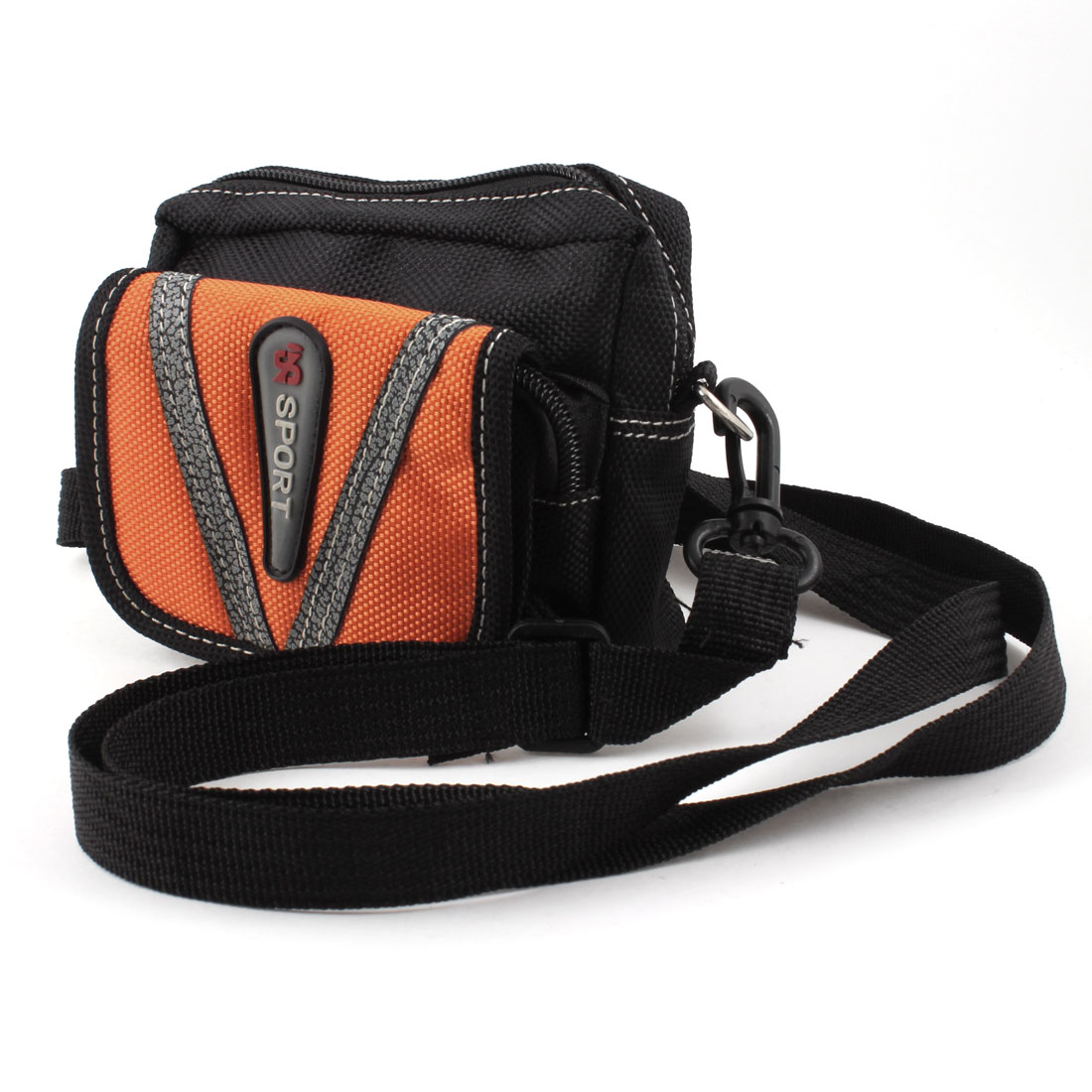 Man Black Orange Faux Leather Decor 2 Pockets Adjustable Strap Handle Waist Bag