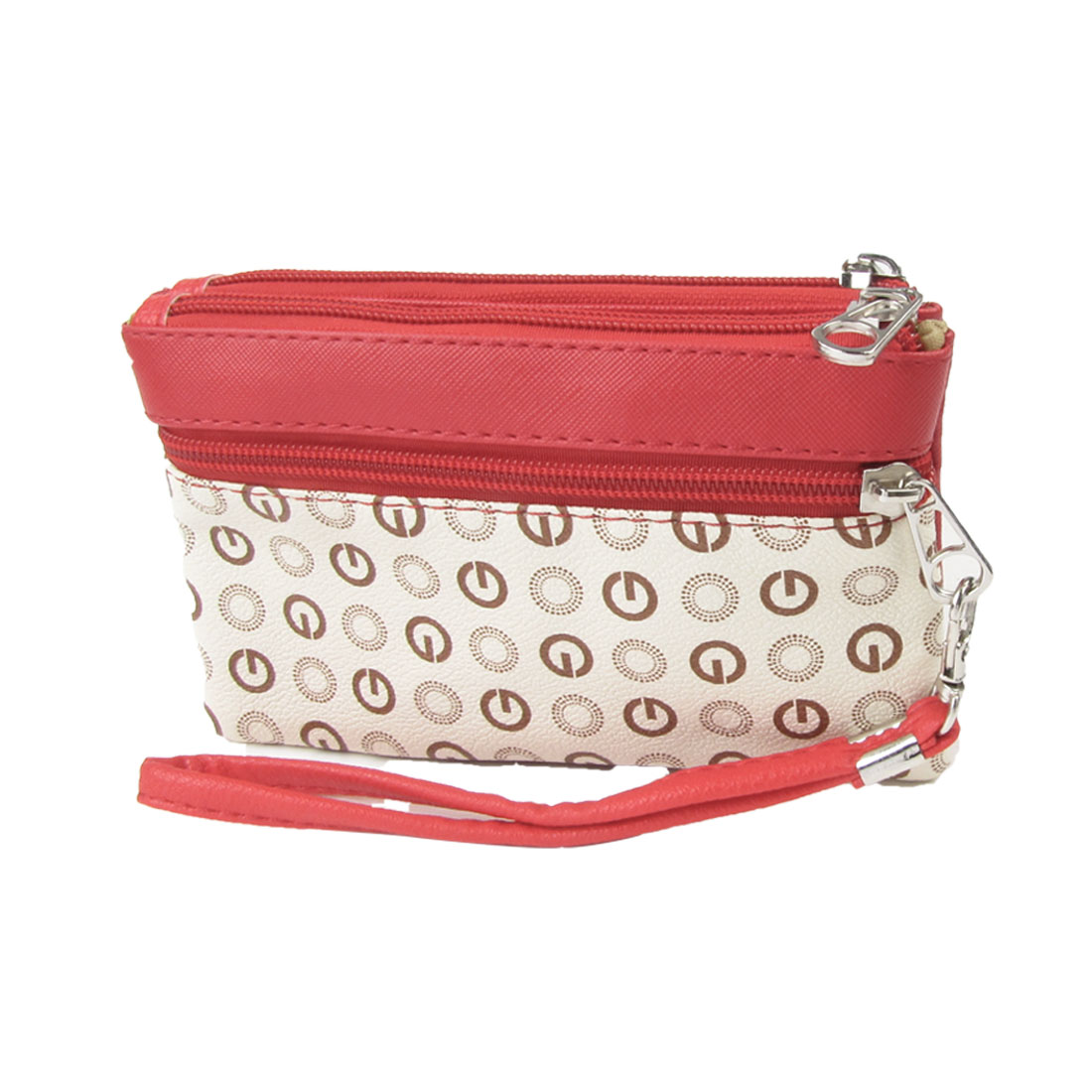 Woman Red Ivory Faux Leather Stud Decor Handbag Purse w Strap