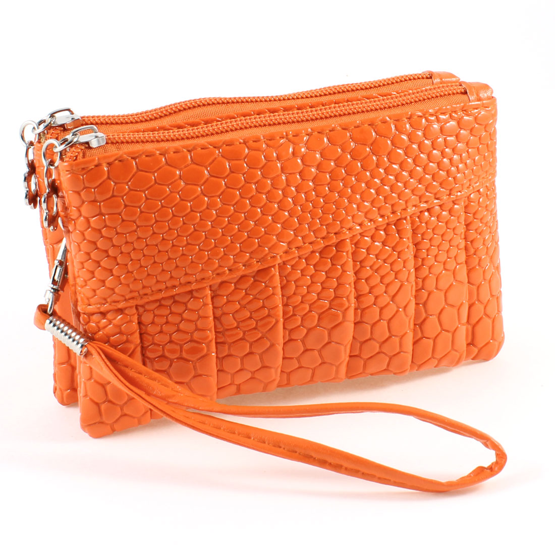 Orange Double Zipper Closure Faux Leather Cell Phone Pouch Wallet Purse