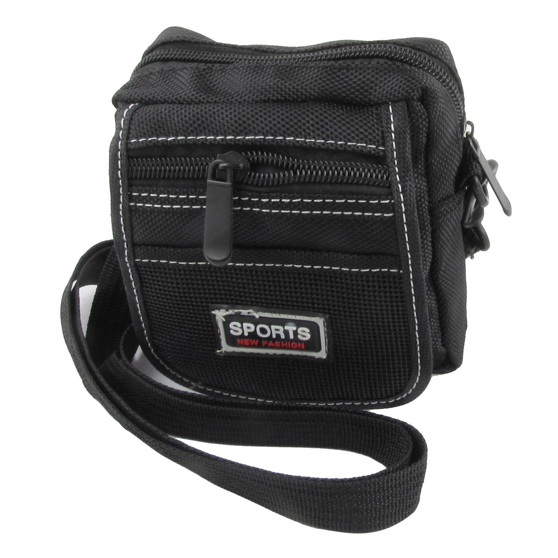 Man Black Nylon 3 Pockets Adjustable Strap Waist Bag Pouch