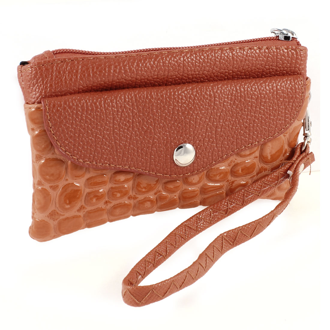 Women Brown Crocodile Pattern Zip up Handbag Purse w Strap