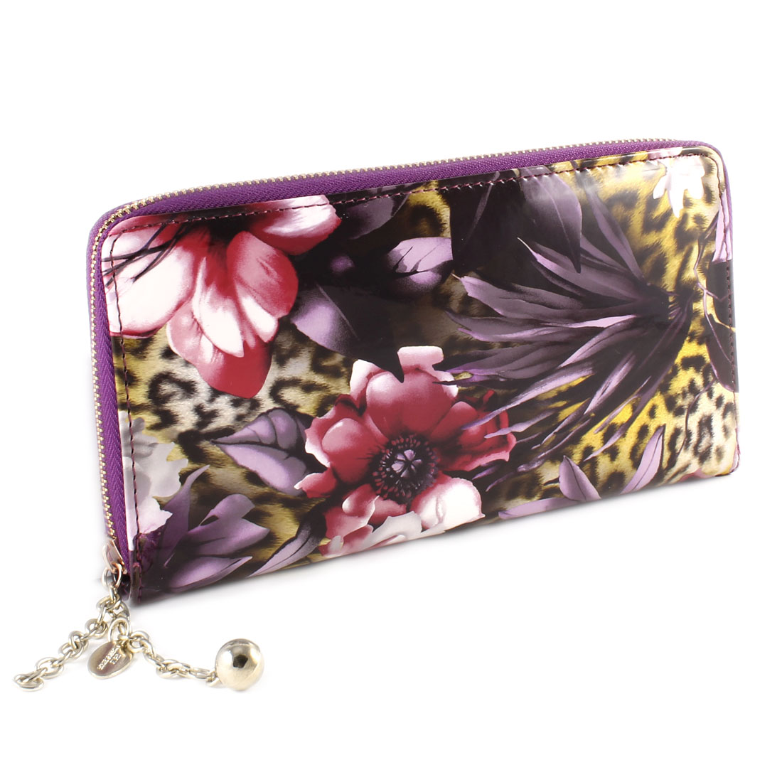 Floral Leopard Prints Faux Leather Zipper Closure Purse Wallet Purple