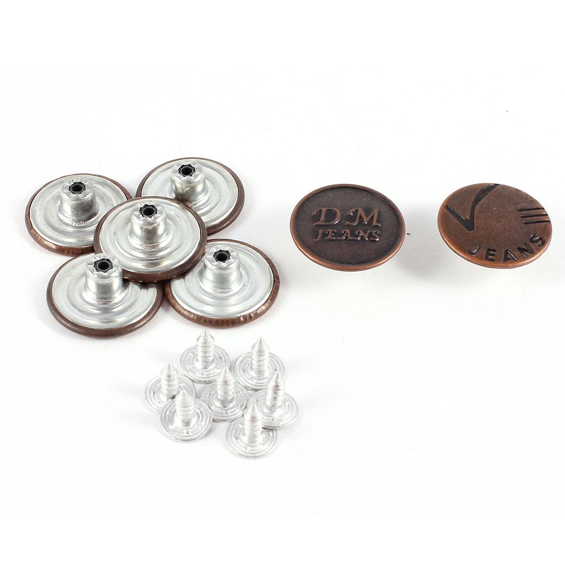 7 Pcs Letter Print Metallic Tack Button Bronze Tone for Jeans