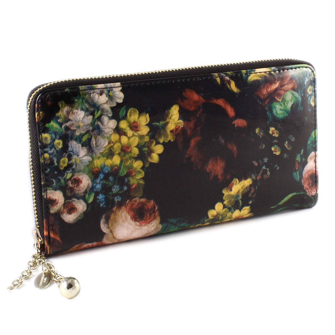 Colorful Floral Prints Faux Leather Zippered Purse Wallet Bag Black