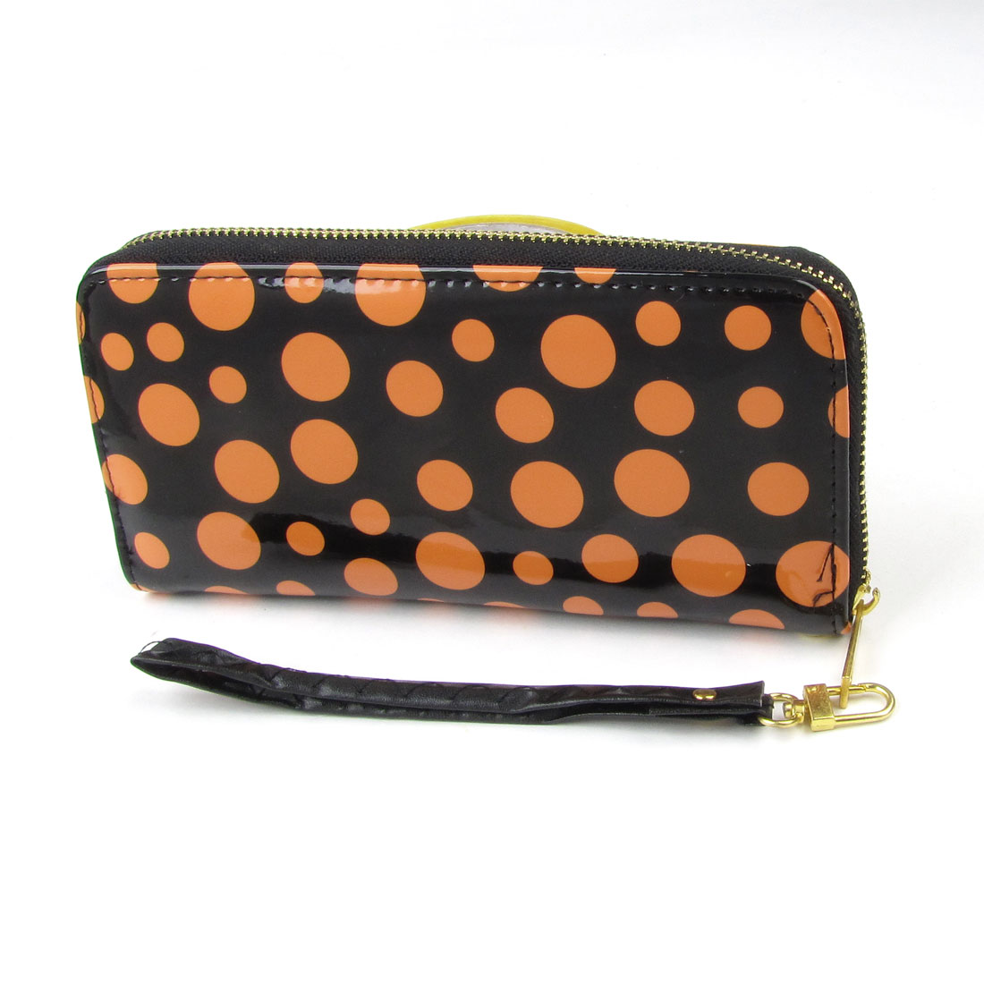 Portable PU Leather Yellow Dots Print Zipper Handle Card Cell Phone Wallet Bag
