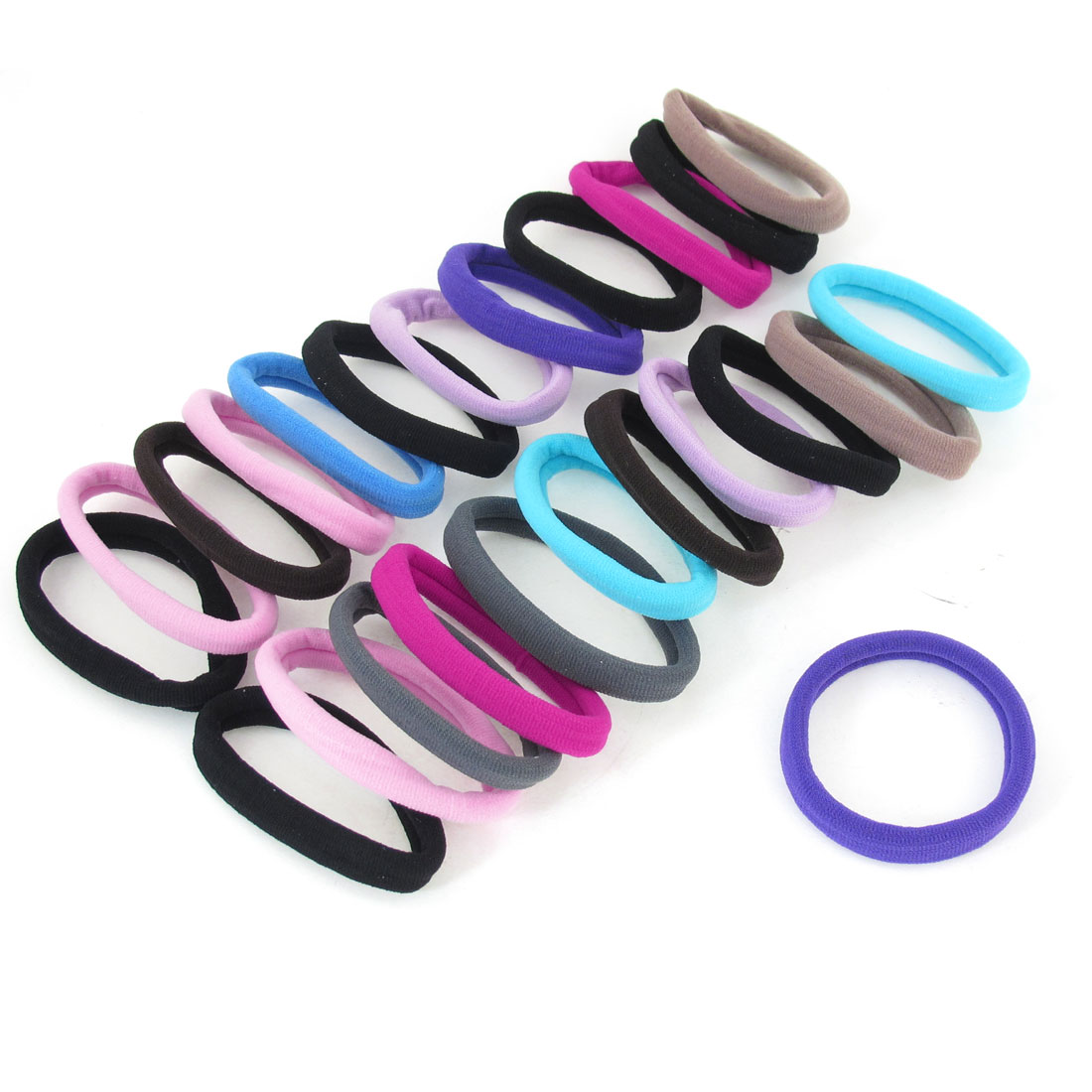 "Multicolor Ponytail Holders 0.4"" Wide Ealstic Hair Bands Tie 24 Pcs"