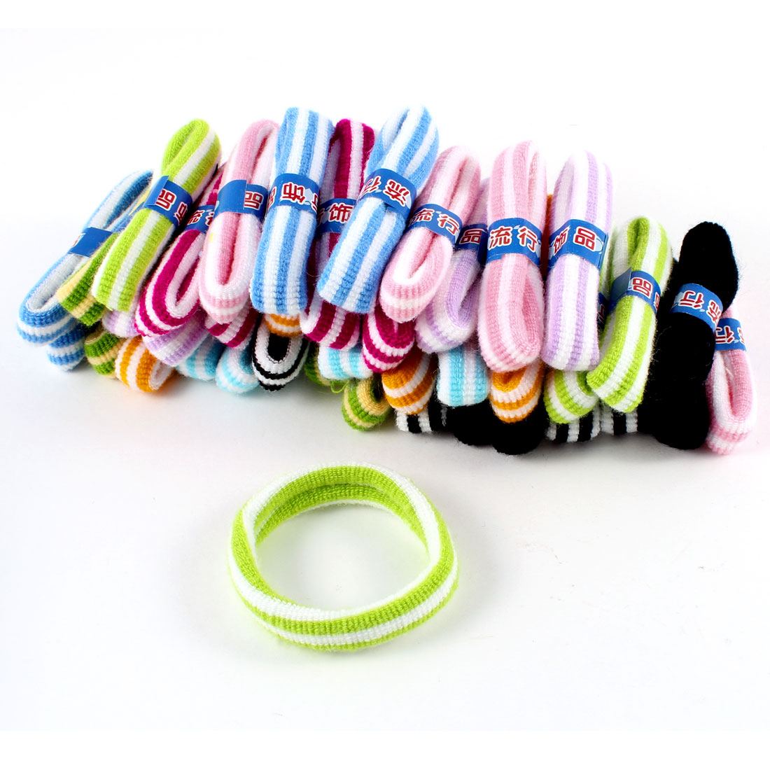 40 Pcs Women Assorted Colors Stripe Pattern Elastic Ponytail Holders Hair Bands