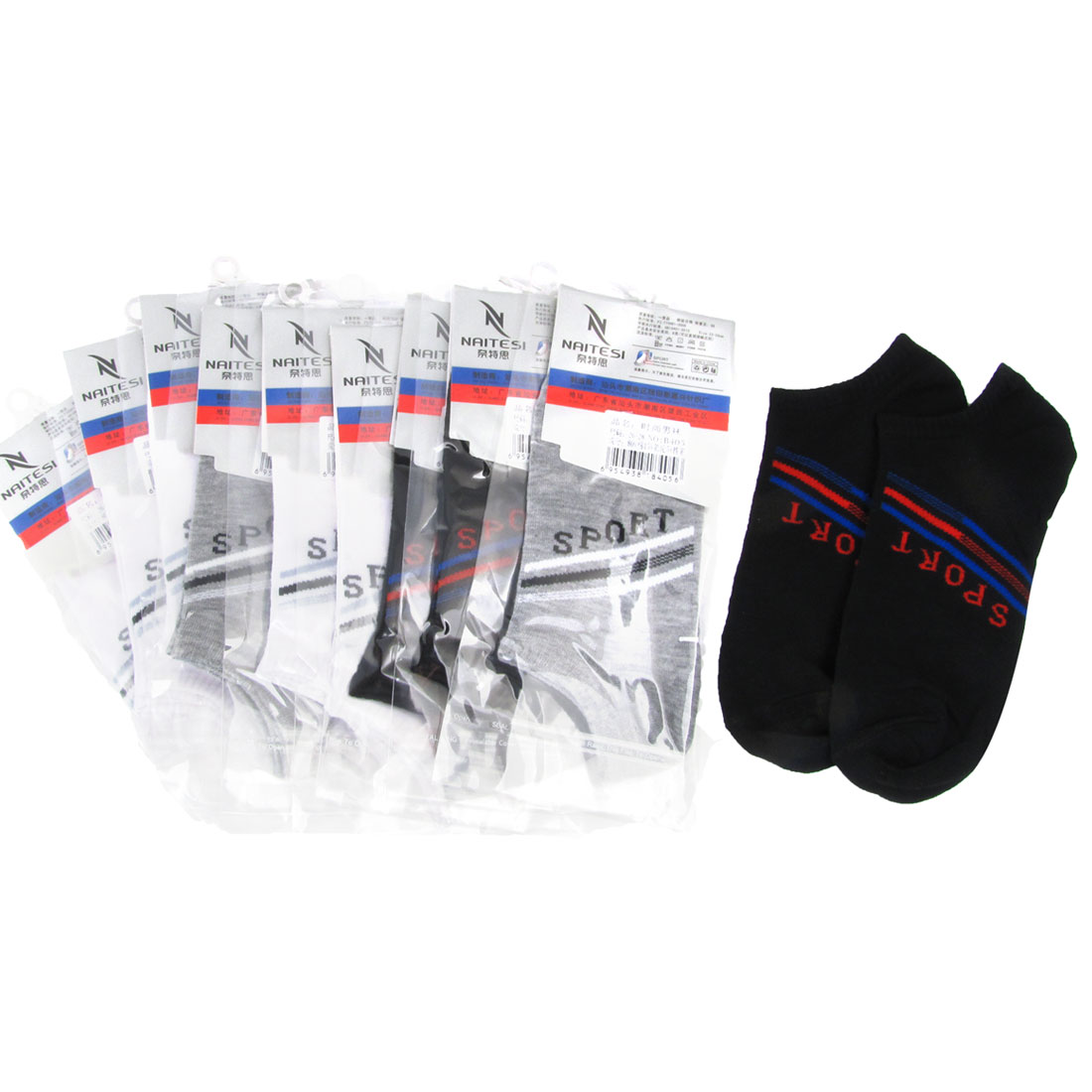 10 Pairs Elastic Cuff Ribbed Letter Print Ankle Socks Black White Gray