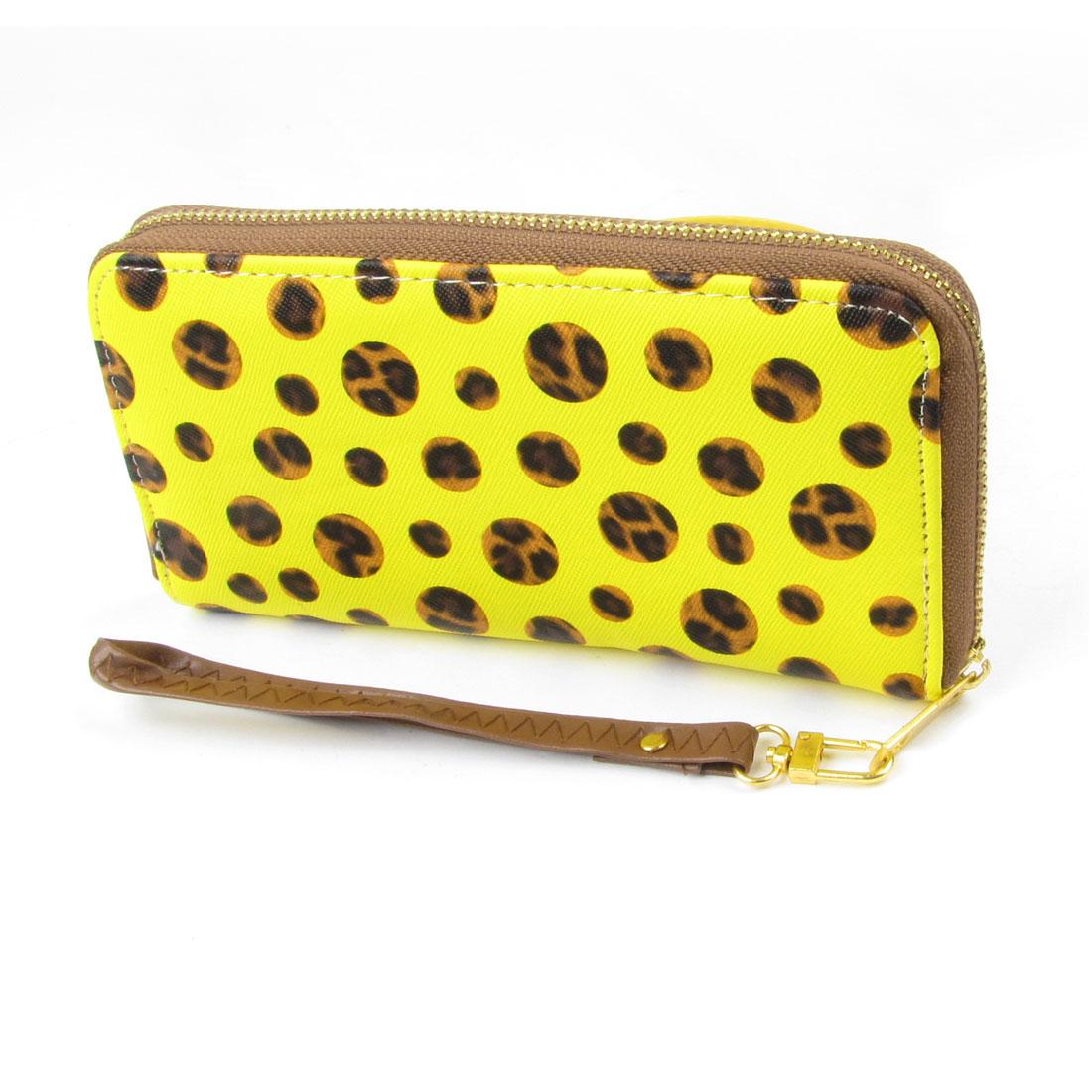Women Detachable Handstrap Leopard Prints Zipper Closure Wallet Yellow