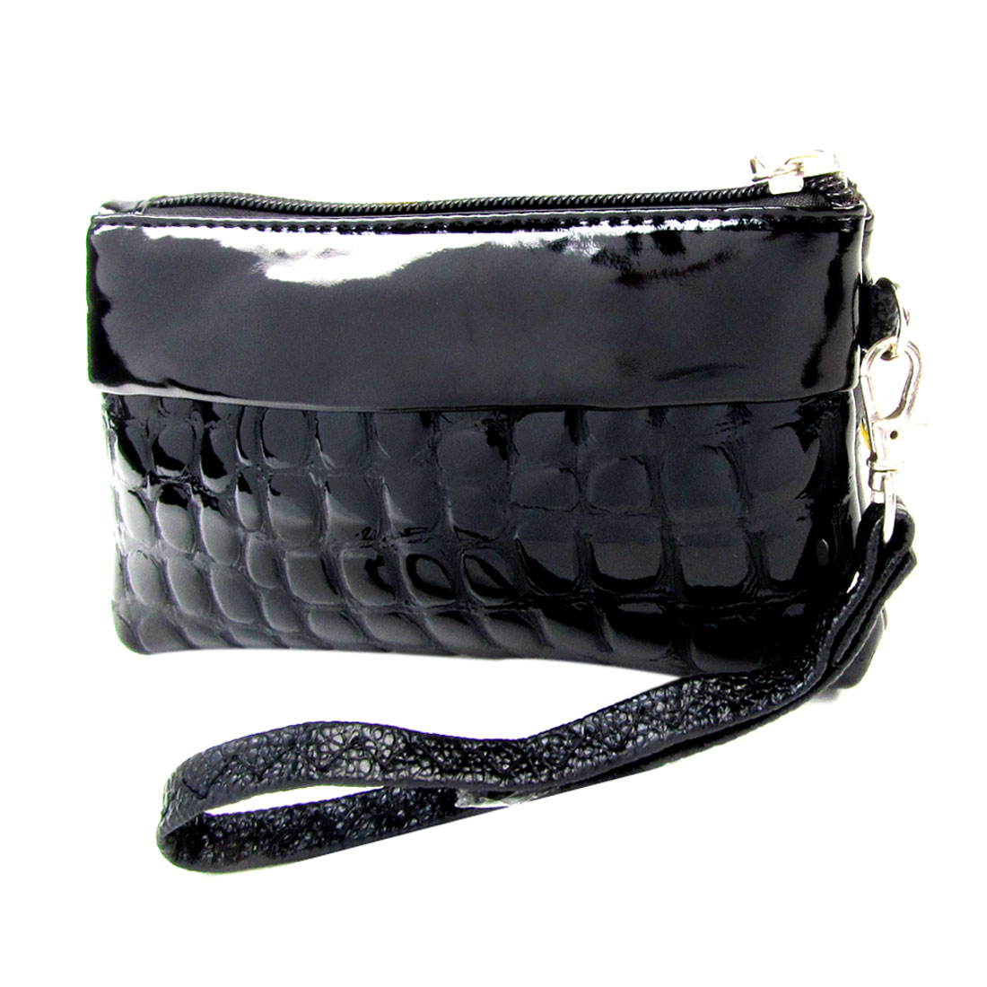 Ladies Black Crocodile Pattern Double Zipper Closure Wallet Handbag