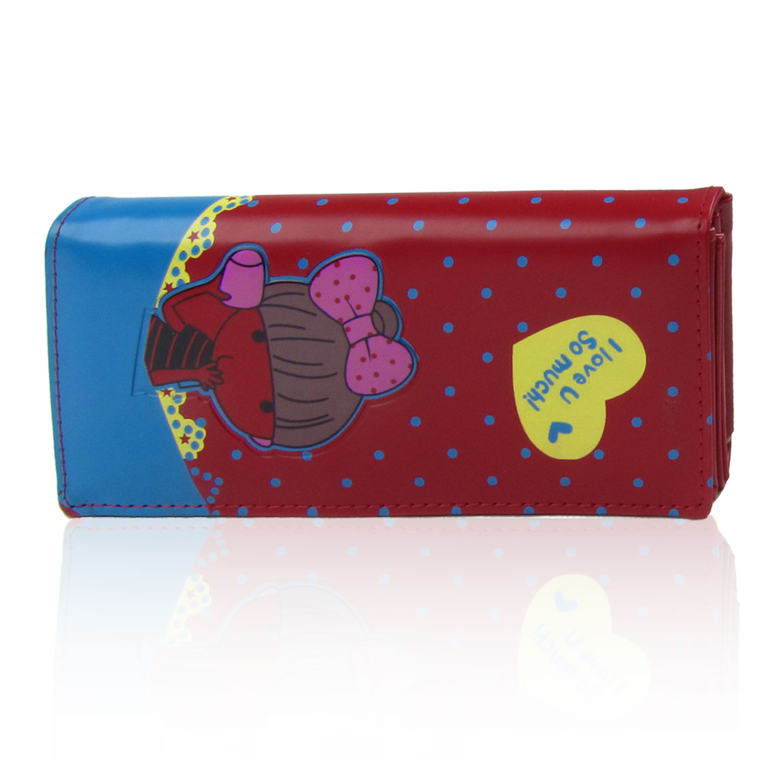 Woman Cartoon Girl Print Magnetic Flap Closure 2 Compartments Purse Red for Lady