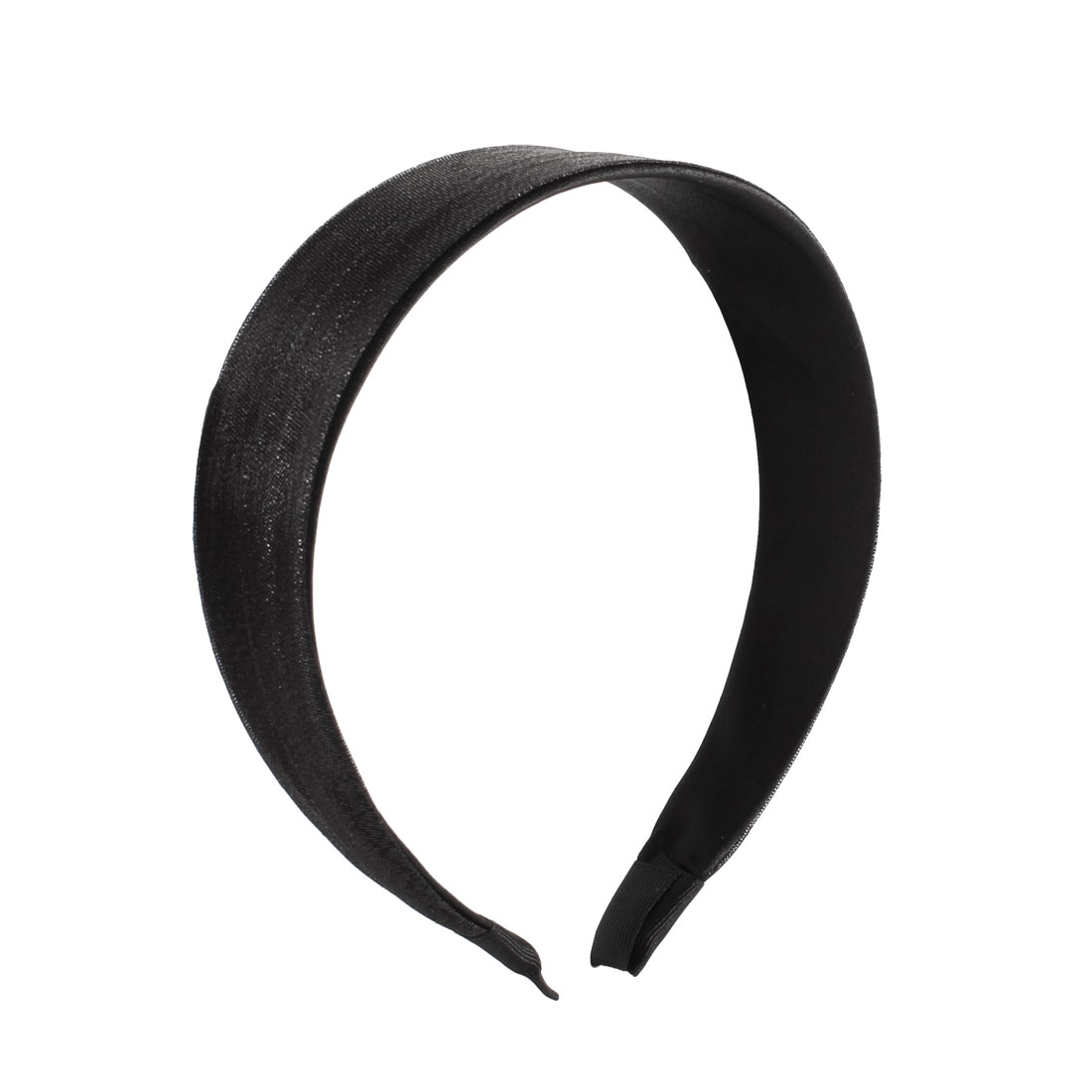 "Woman 1.5"" Wide Black Voile Coated Plastic Hairband Ornament"