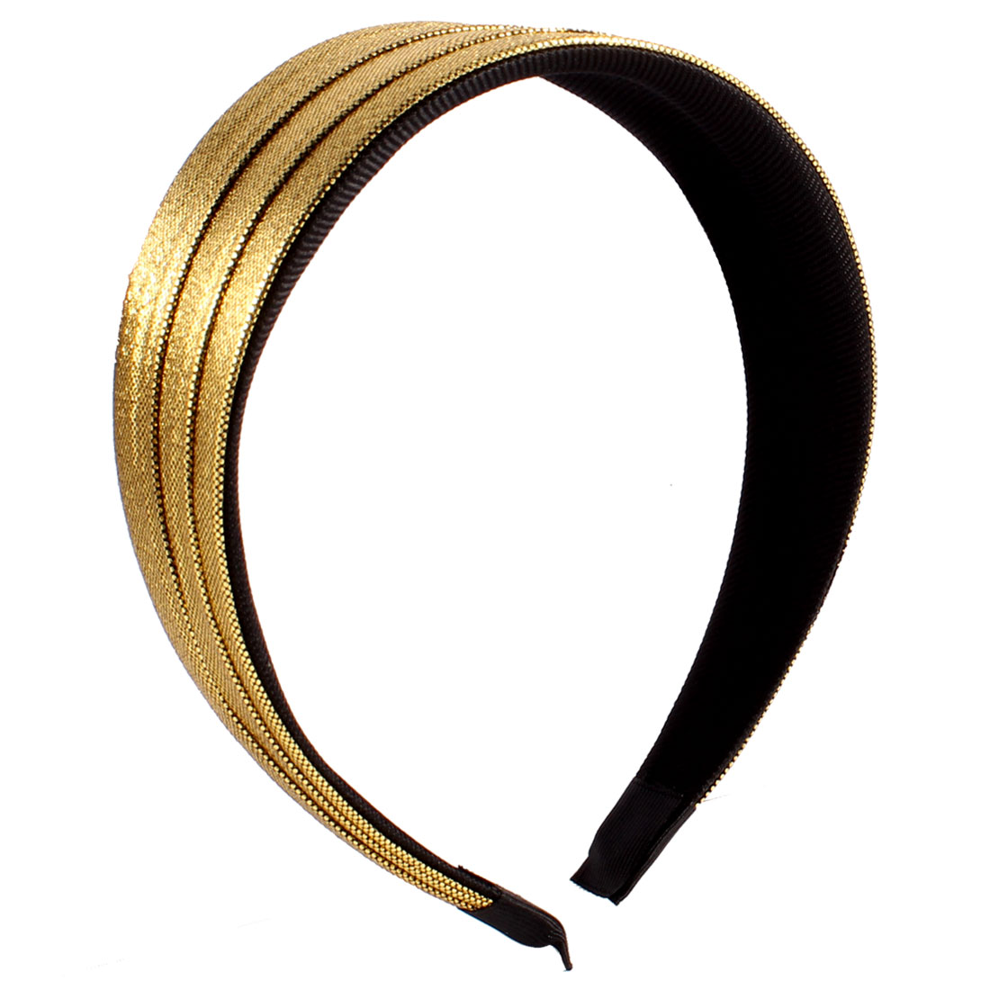 "Woman 1.8"" Wide Polyester Plastic Gold Tone Shining Hairband Ornament"