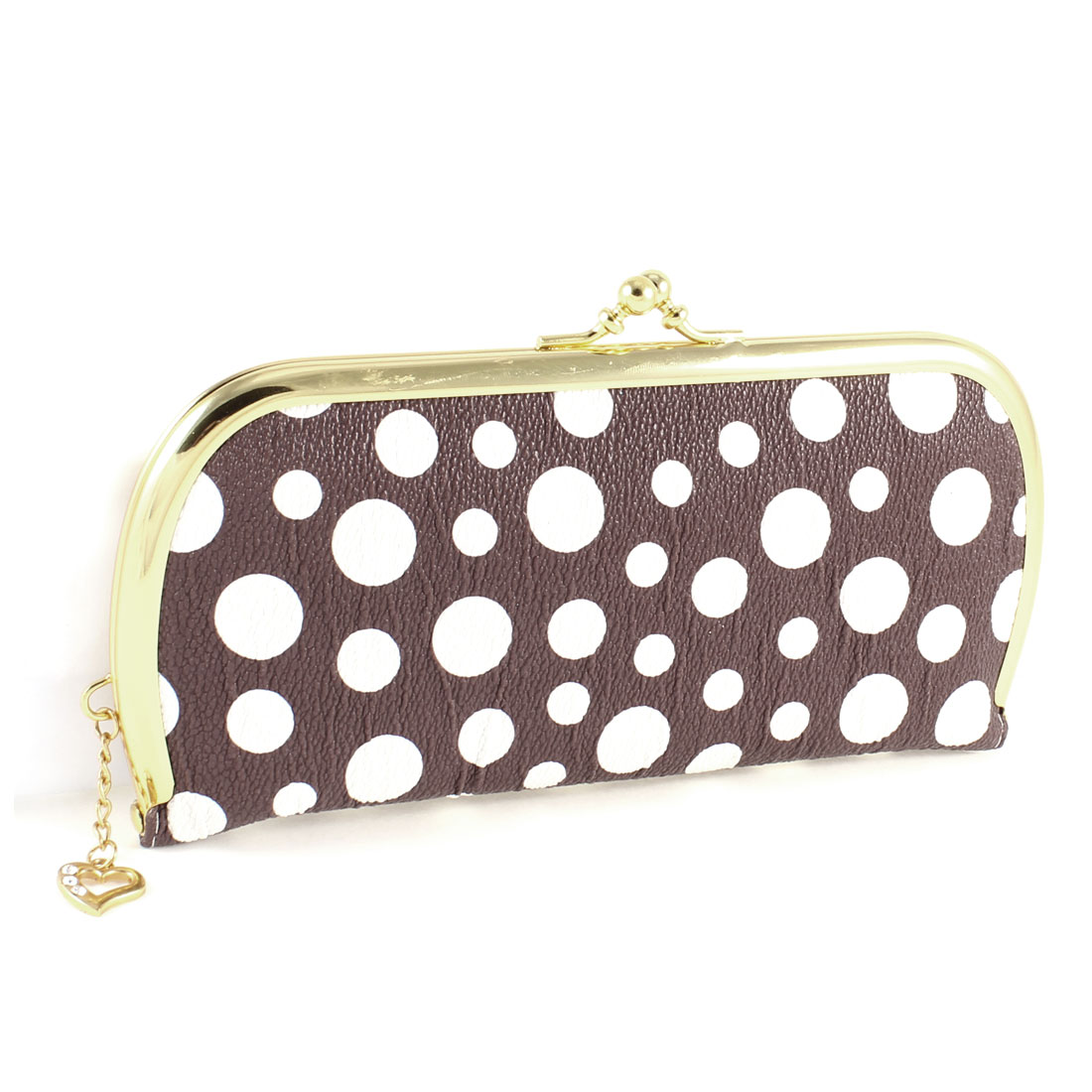 Woman White Dot Partten Kiss Lock 4 Compartment Hand Bag Purse Wallet