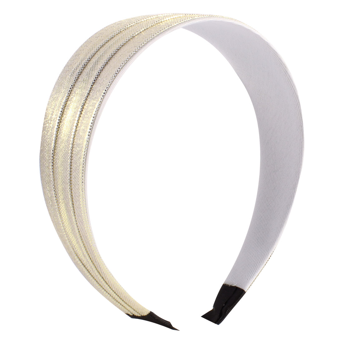 "Woman 1.8"" Wide Polyester Plastic Light Gold Tone Shining Hairband Ornament"