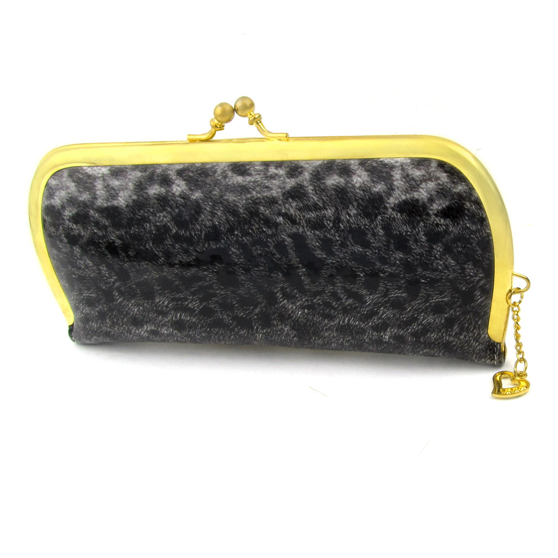 Woman Heart Pendant Kisslock Clasp Faux Leather Cat Fur Pattern Wallet