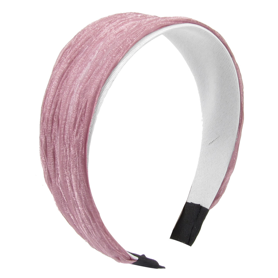 Woman Wide Wrinkle Voile Plastic Pink Hairband Ornament