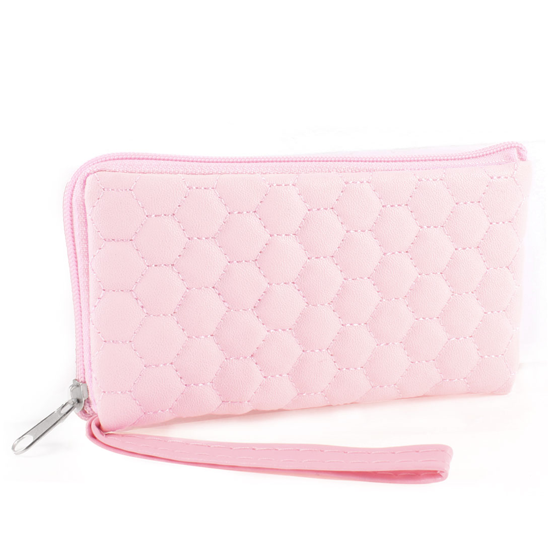Pink Circle Pattern Zipper Closure Wallet Purse for Woman