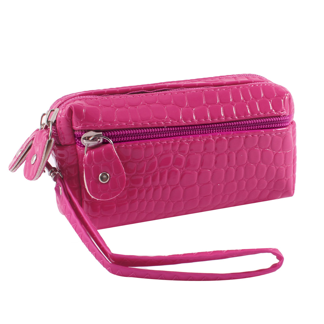 Woman Fuchsia Crocodile Pattern 3 Zipper Closure Handbag Purse w Strap
