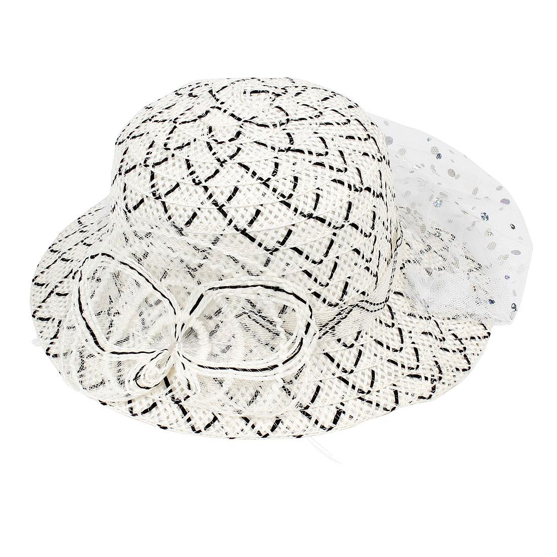 Lady Black White Plastic Organza Round Brim Straw Hat