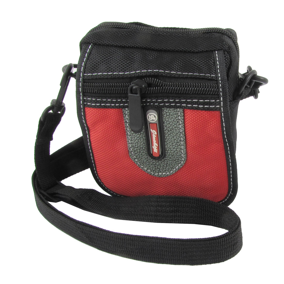 Man Black Red Gray Faux Leather Decor 3 Pockets Adjustable Strap Waist Bag