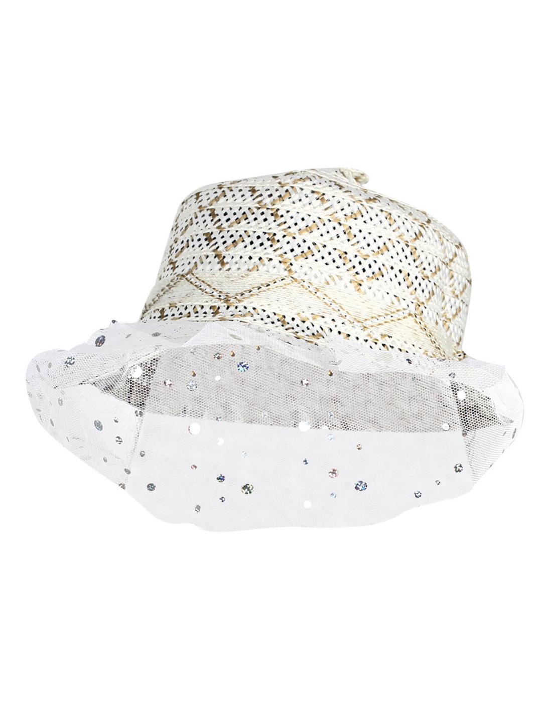 Lady Brown White Plastic Organza Round Brim Straw Hat