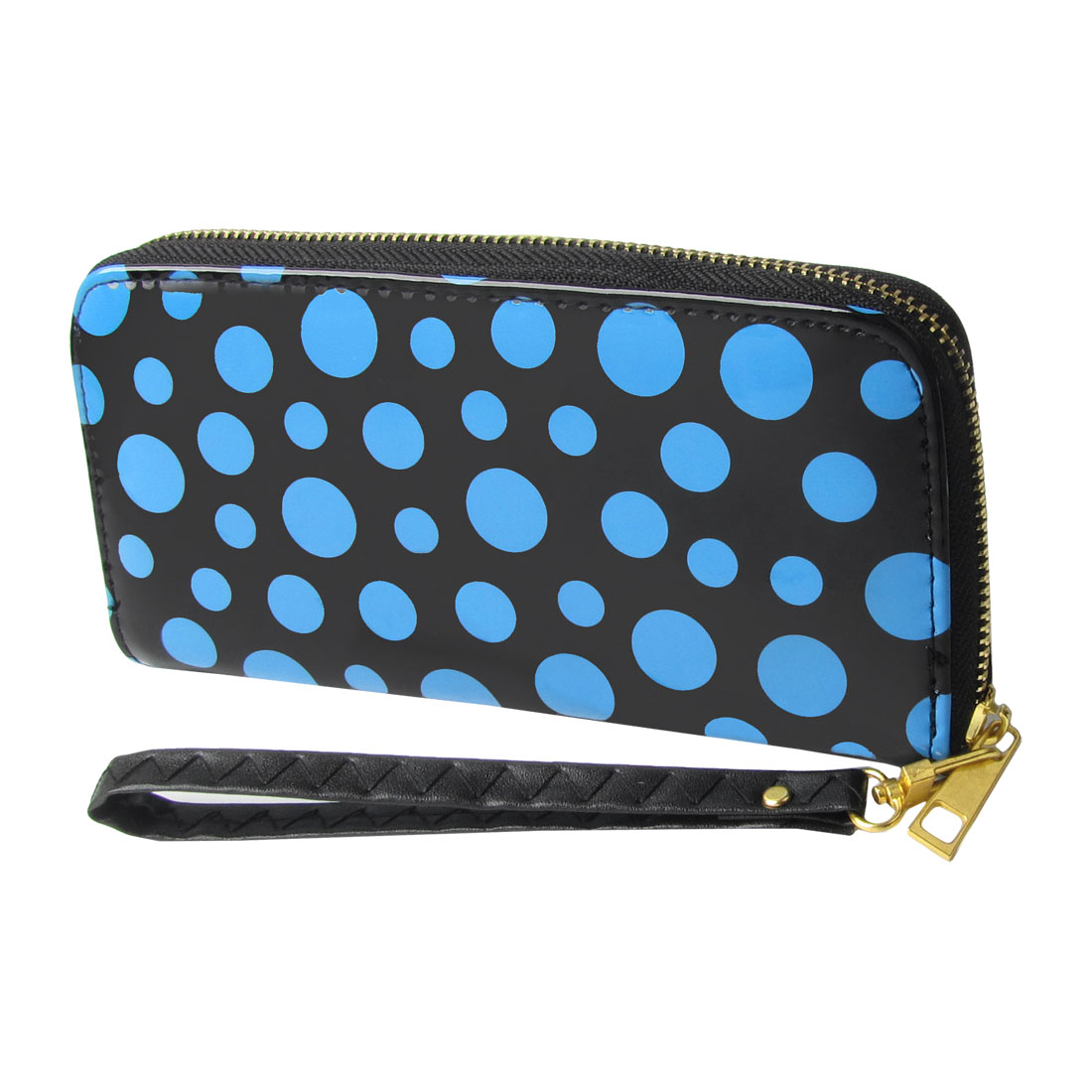 Lady Blue Dot Pattern Zipper Closure Organizer Wallet Holder Black