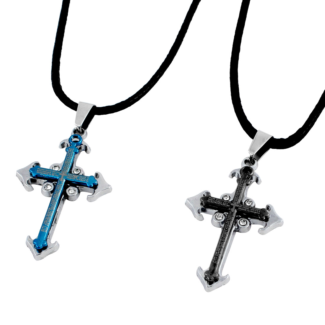 Couples Gray Blue Rhinestone Inlaid Cross Pendant Necklace