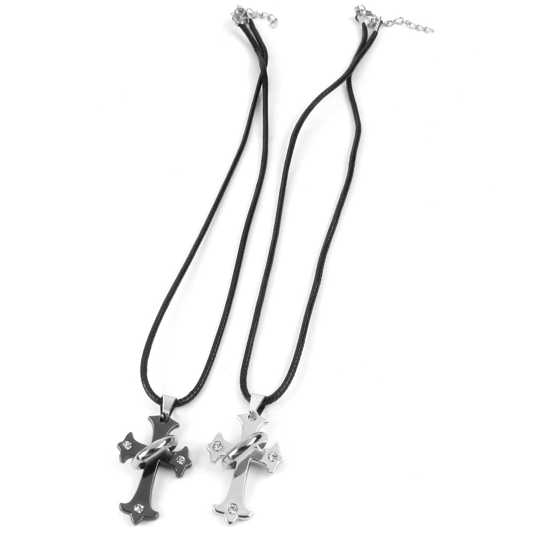 Couples Black Silver Tone Rhinestone Inlaid Ring Decor Cross Style Necklace